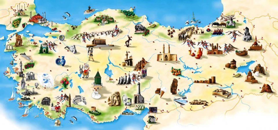 türkiye'de görülmesi gereken yerler, türkiye gezilecek yerler haritası