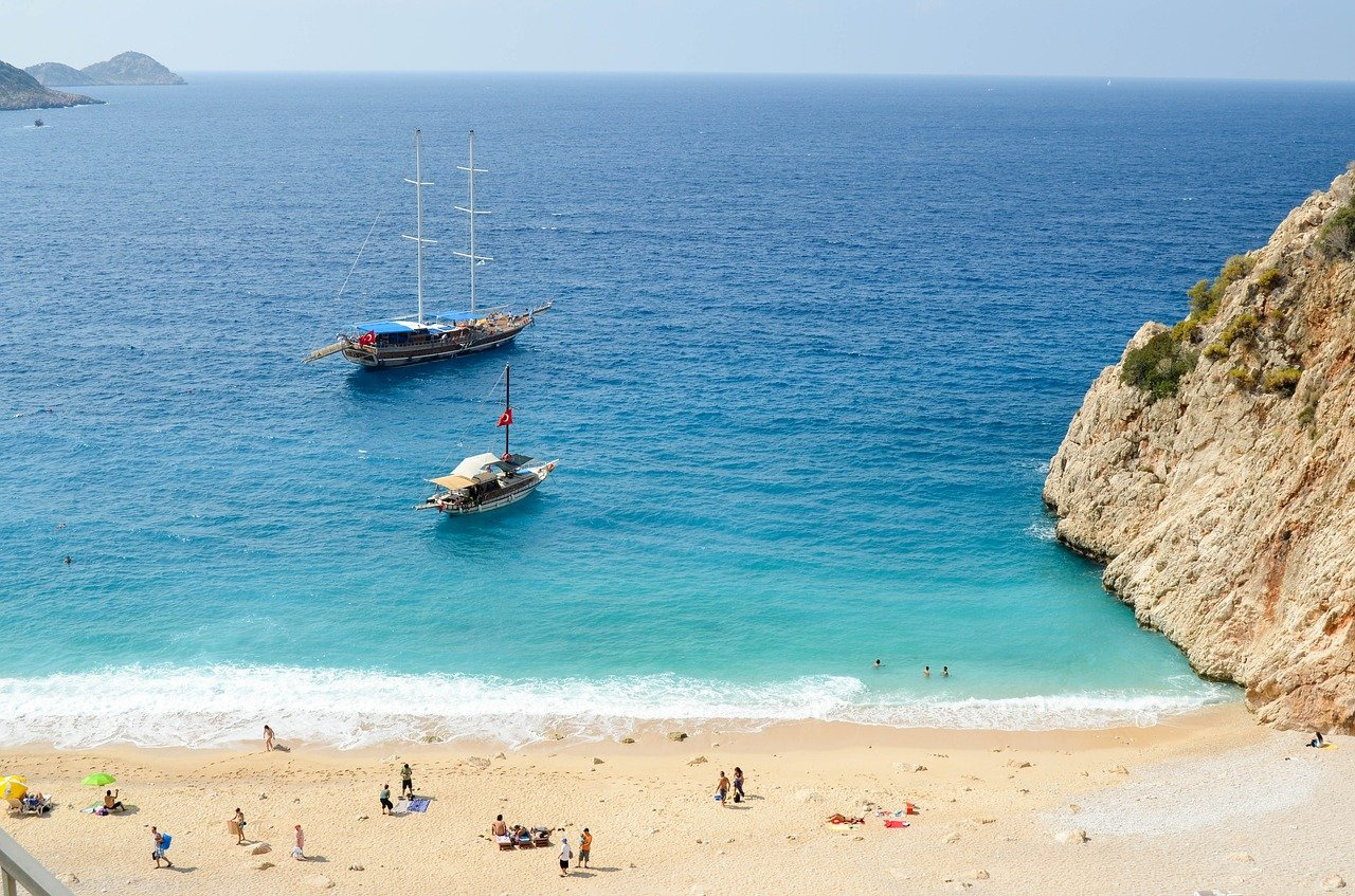 kaputaş plajı, sahil, kumsal